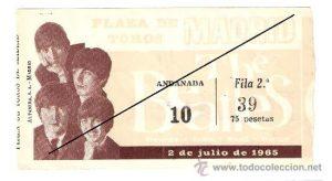 Entrada para el concierto de los Beatles en Madrid en 1965 Los Beatles en España