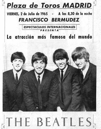 The Beatles, cartel actuación en Madrid en 1965