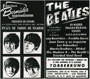 The Beatles, cartel anunciando su concierto en Madrid en 1965 y presentado por Torrebruno