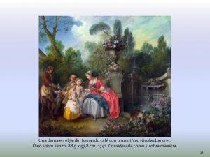 Una dama en el jardín tomando café con unos niños
