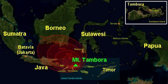 Mapa del cataclismo del Tambora