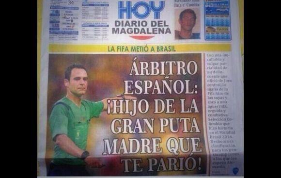 Titular del diario Hoy: árbitro español