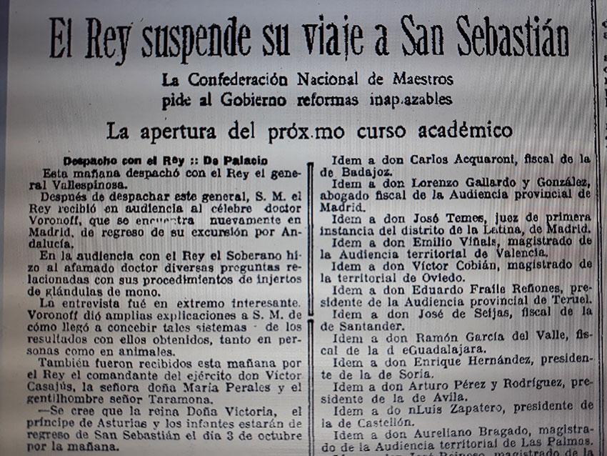 Publicación en La Vanguardia sobre el encuentro entre Voronoff y Alfonso XIII - el café de la historia