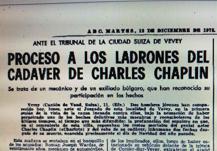 Hemeroteca ABC, ladrones cadáver de Chaplin - el café de la historia