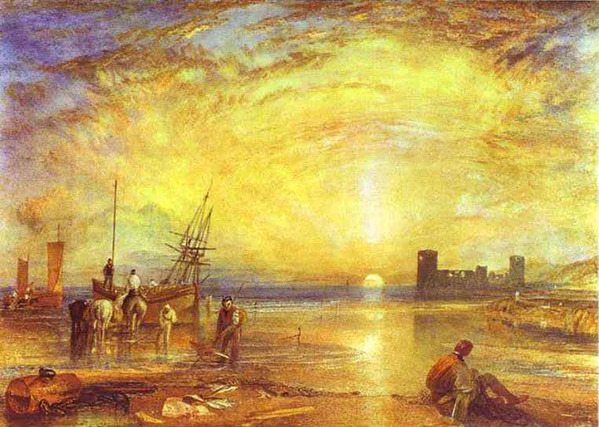 """Dos obras del pintor británico Turner en las que se puede apreciar los efectos del la ceniza del Tambora en el clima de Europa durante el """"año sin verano""""."""