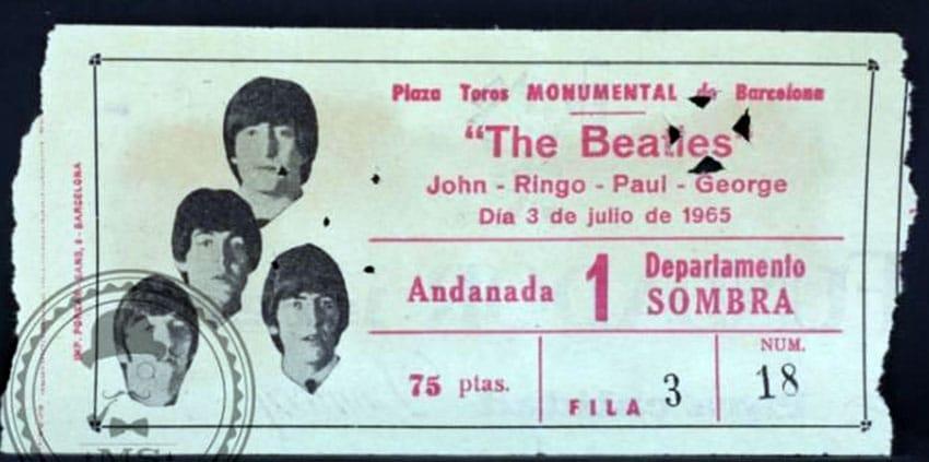 Entrada de los Beatles para el concierto de Barcelona en 1965