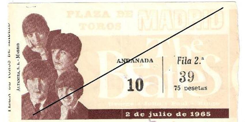 Entrada para el concierto de los Beatles en Madrid en 1965