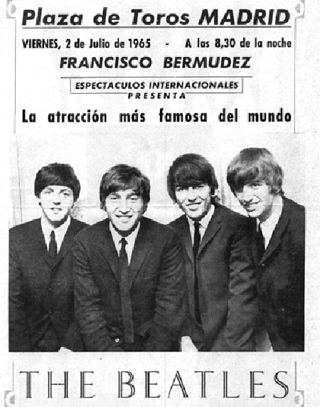 The Beatles, cartel actuación en Madrid en 1965