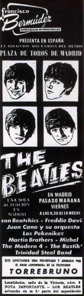 Publicidad de la actuación de los Beatles en Madrid en 1965
