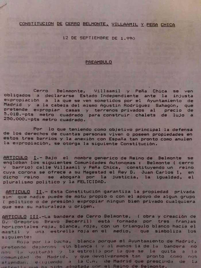 Constitución del Reino Belmonteño el café de la historia