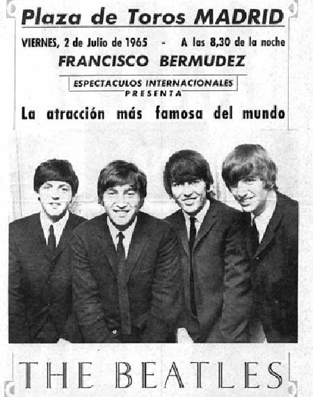 The Beatles, cartel actuación en Madrid en 1965 Los Beatles en España