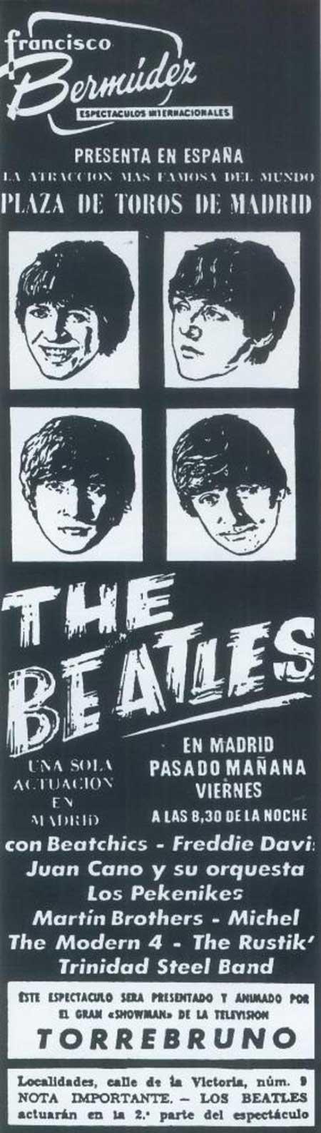 Publicidad de la actuación de los Beatles en Madrid en 1965 Los Beatles en España