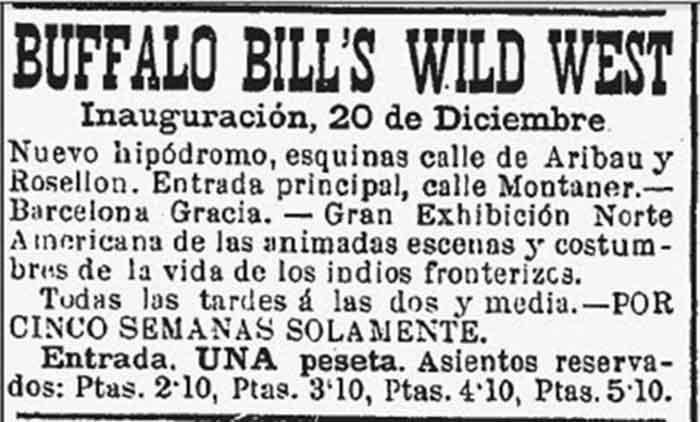Circo de Buffalo Bill en Barcelona Anuncio del circo de Buffalo Bill en La Vanguardia