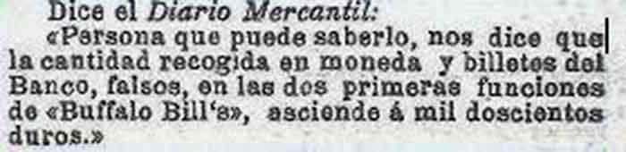 Circo de Buffalo Bill en Barcelona El affaire de los billetes falsos