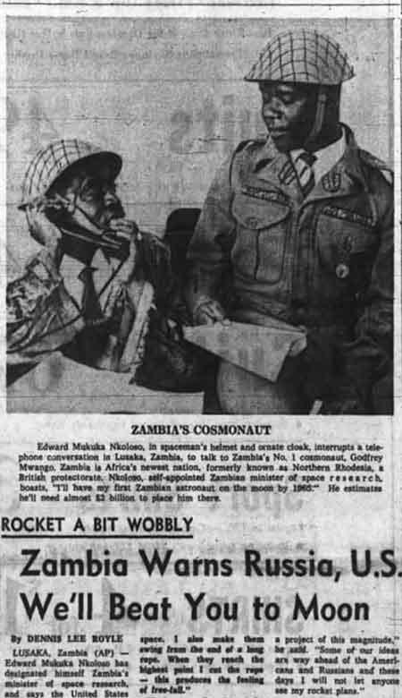 El café de la historia - recorte de periódico de la carrera espacial de Zambia