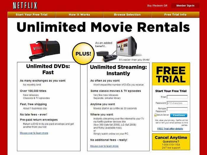 Suscripción a Netflix años 90