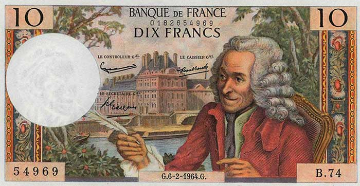 Billete de diez francos franceses con la imagen de Volatire