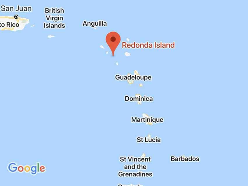 Mapa con la situación de la Isla de Redonda - el café de la historia