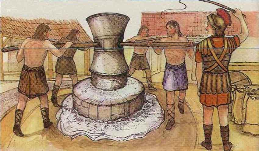 Molino romano accionado por esclavos